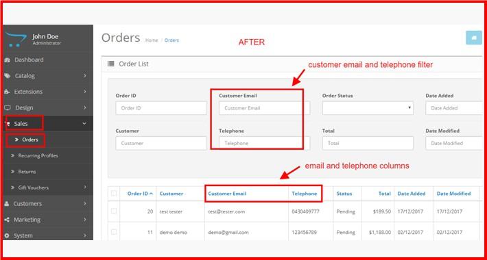 Admin Order Email-Telephone Column+Filter