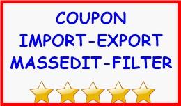 COUPON IMPORT-EXPORT-MASSEDIT-FILTER
