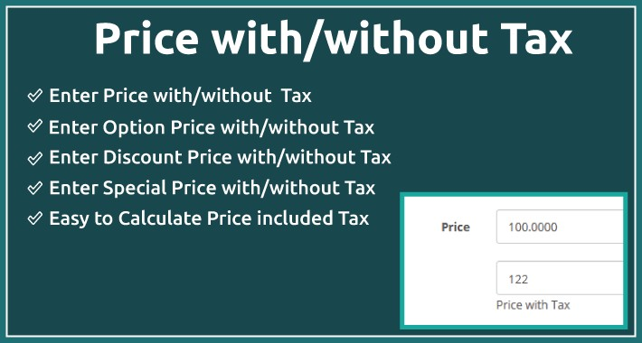 Price with Tax - enter price with/without tax