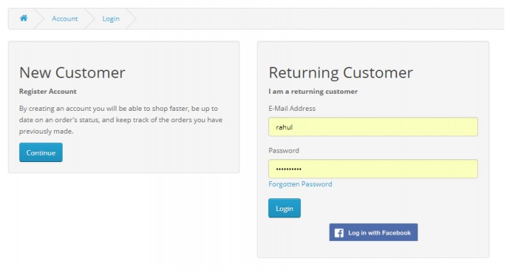 Facebook Login Extention VQMOD works with one page checkout