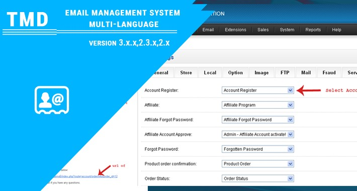 opencart email management system multi-language