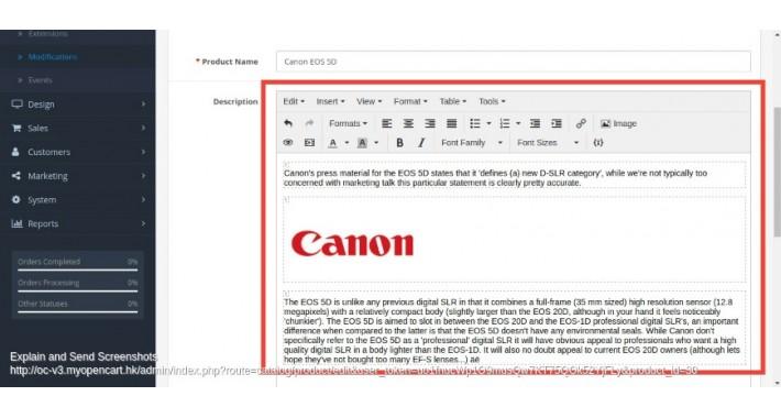 TinyMCE editor for Opencart v.3