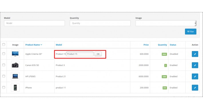 Instant Update Product Model, Quantity, Status From List