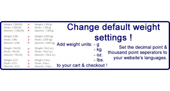 Change default weight settings, separators, add weight units