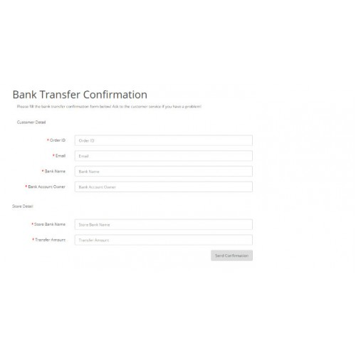 OpenCart - Simple Bank Transfer (Payment) Confirmation FORM