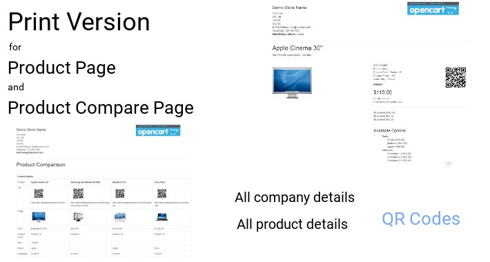 Print Version for Product Page and Product Compare Page