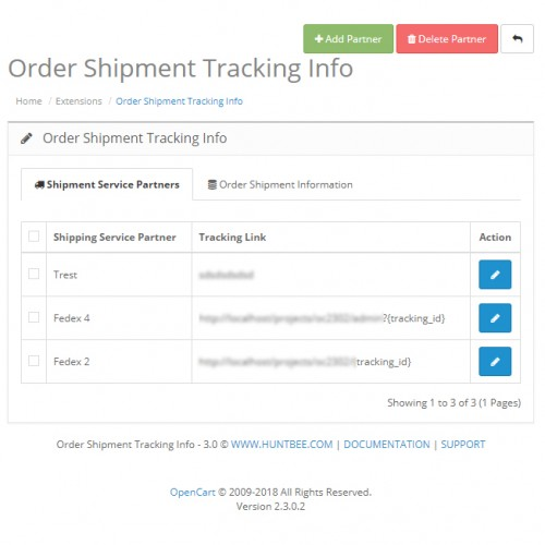 OpenCart - Shipment / Courier details Tracker