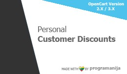 Personal Customer Discounts / Special Prices