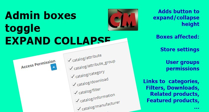 Admin boxes toggle expand/collapse