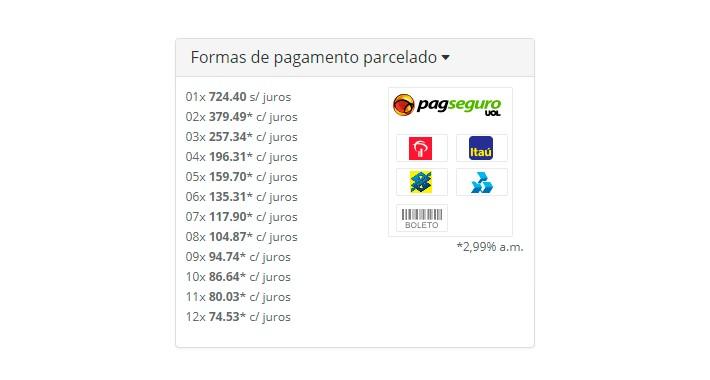 Tabela de Parcelas do PagSeguro