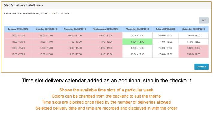 Time Slot Delivery Calendar