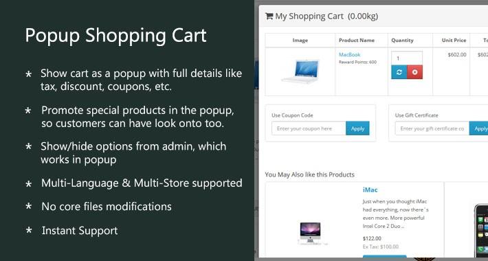 Popup Shopping Cart