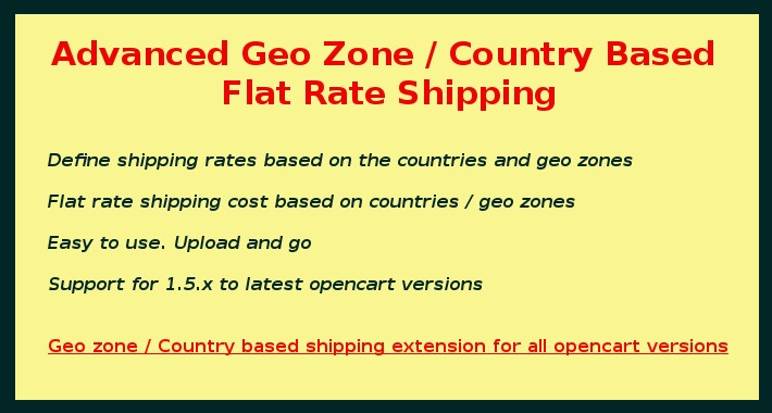 Geo Zone Based Shipping / Country Based  Shipping