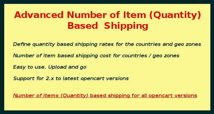 Number of Item Based Shipping / Quantity Based Shipping
