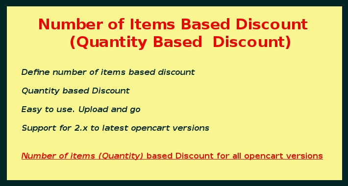 Number of Items Based Discount / Quantity Based Discount