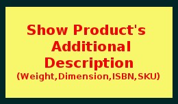 Show Product Weight, Dimension, SKU, ISBN, UPC, ..