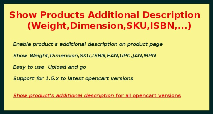 Show Product Weight, Dimension, SKU, ISBN, UPC, EAN, JAN, MPN