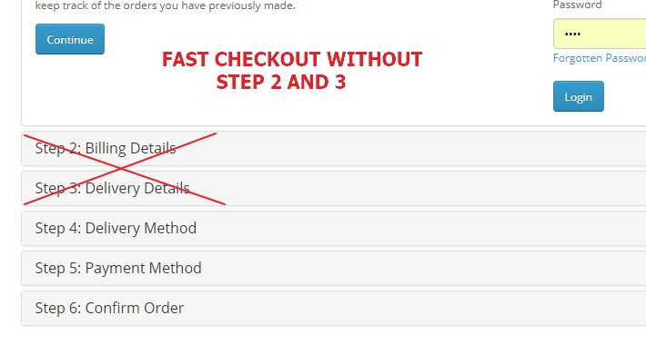 FAST CHECKOUT (step 2 and 3 removed)