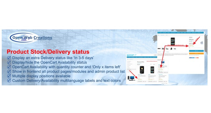 Product Stock/Delivery Status with 9 features