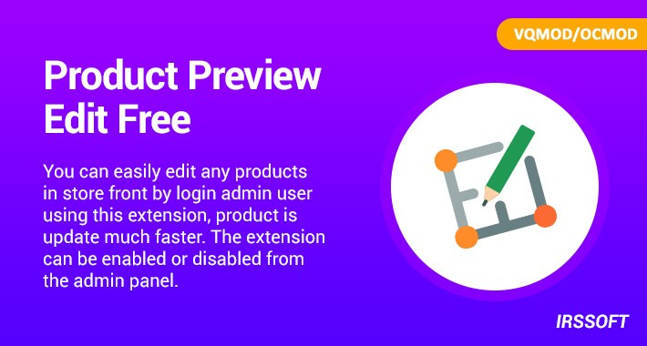 Product Preview Edit Free(VQMOD/OCMOD)