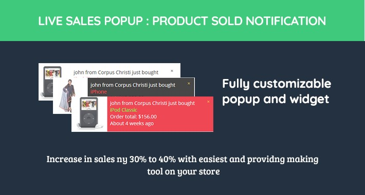 live Sales Popup: product sold notification