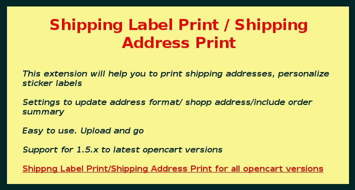 Shipping Label  Print / Shipping Address Print