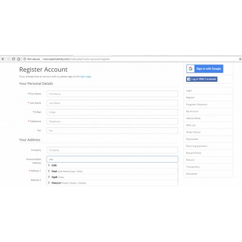 OpenCart - Autocomplete Address