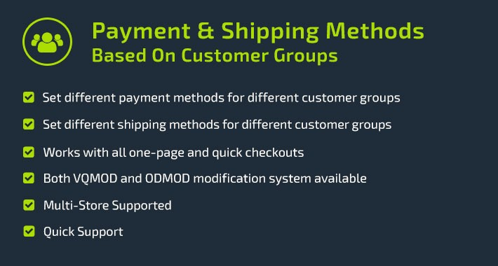 Payment & Shipping Methods Based On Customer Groups
