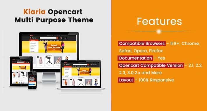 Kiaria Opencart Multi Purpose Opencart Responsive Theme