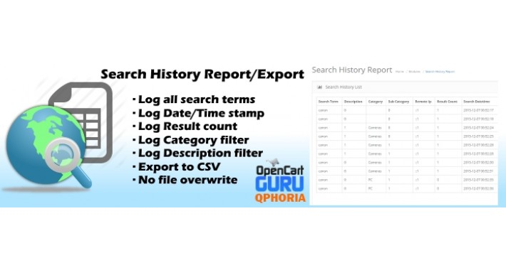 Search History Report/Export CSV (2.x/3.0)