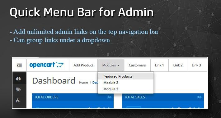 Quick Menu bar for OpenCart Admin Page [23xx]