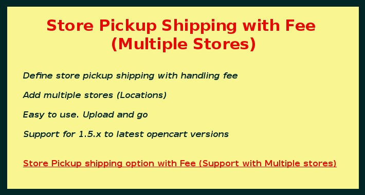Store Pickup Shipping with Fee (Multiple Stores)