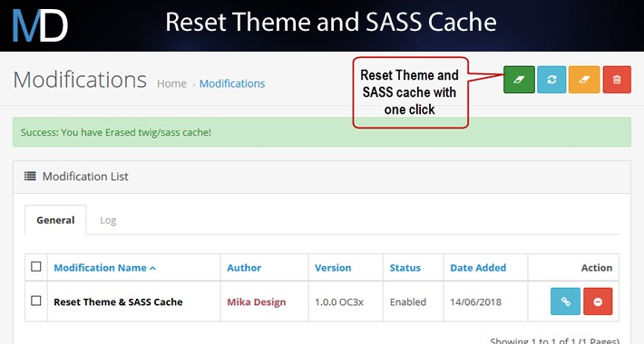 Reset Theme and SASS cache - from Modifications page