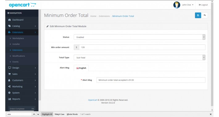 Minimum Order Total