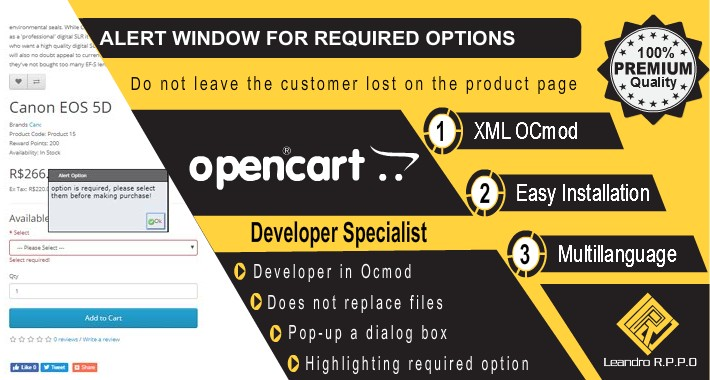 ALERT WINDOW FOR REQUIRED OPTIONS