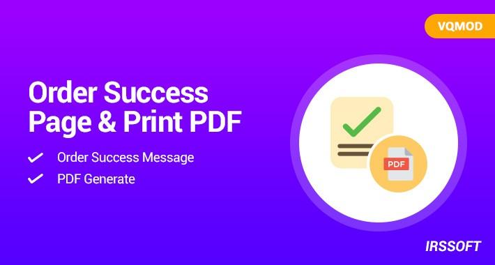 Order Success Page & Print PDF(VQMOD)