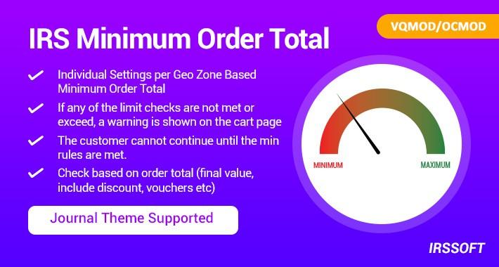 IRS Minimum Order Total VQMOD / OCMOD