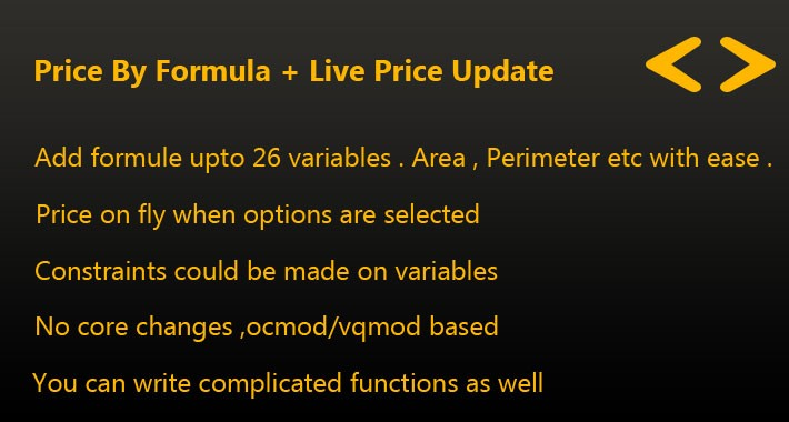 price by formula + live price update