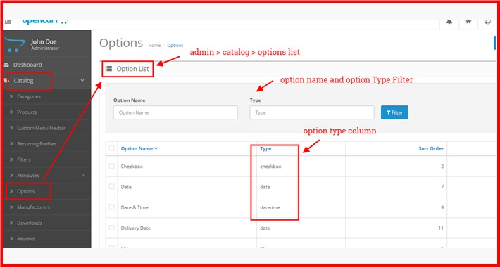 Filter At Admin Options List