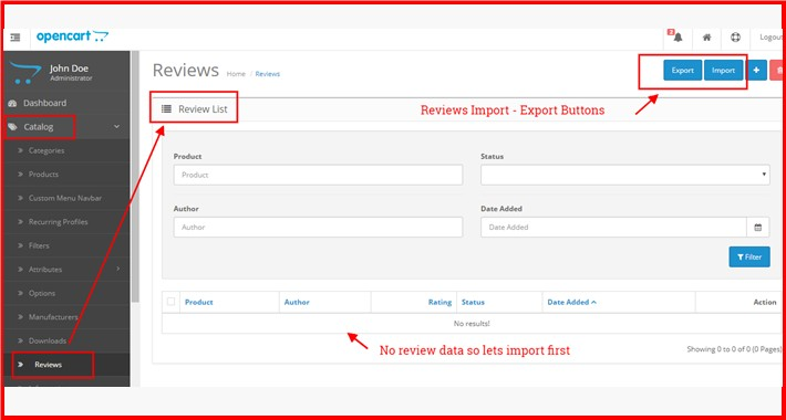 Admin Reviews Import-Export CSV