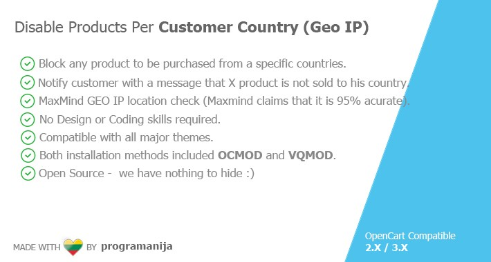 Disable Products Per Customer Country (Geo IP Tracking)