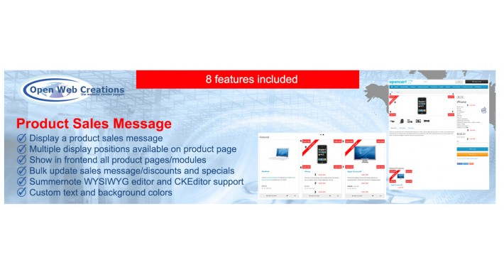 Product Sales Message with 8 features included