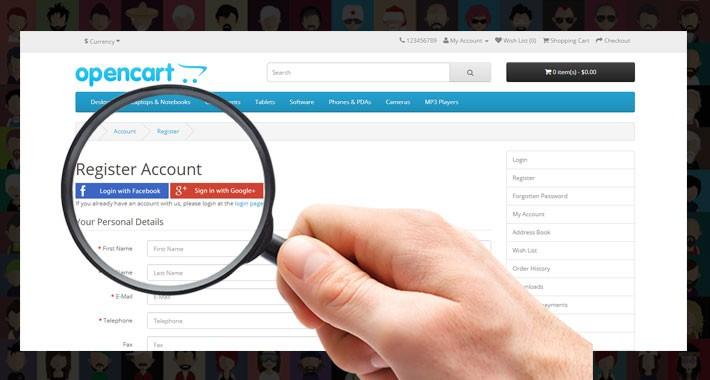 OpenCart - Free Social Login Facebook and Gmail Integration Plugin