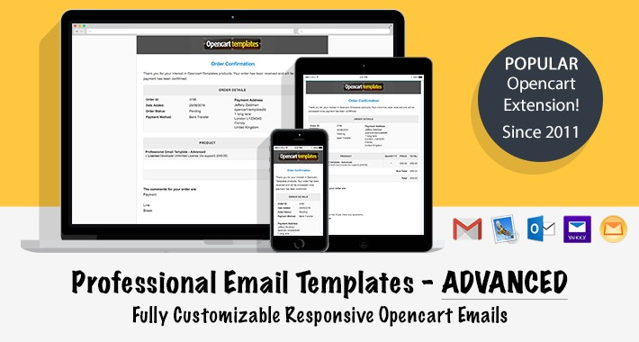 opencart advanced professional email template