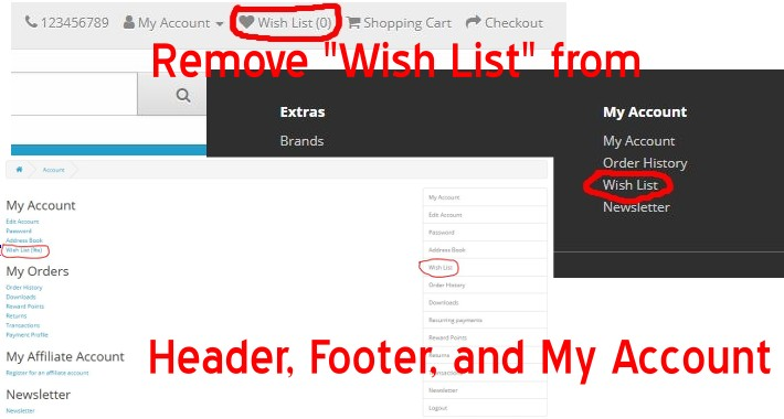 Remove Wish List-Header/Footer/My Account - OpenCart 3.x [OCMOD]