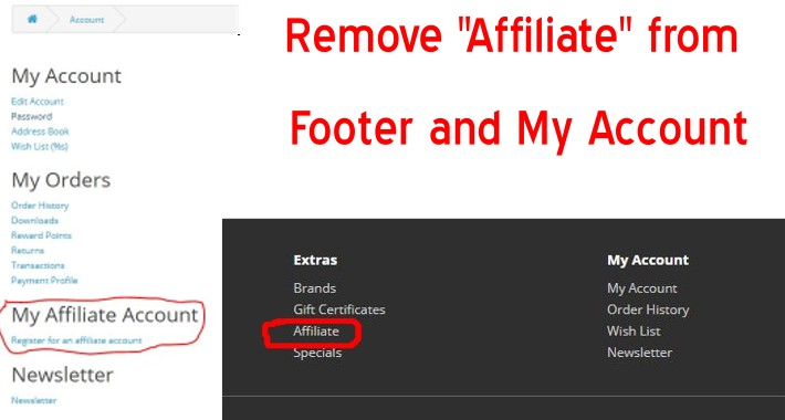 Remove Affiliate - Footer and My Account - OpenCart 3.x [OCMOD]