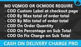 Cash on Delivery Charge COD Fees Opencart Pro By..