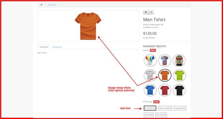 Product Option Color Image + Size Box