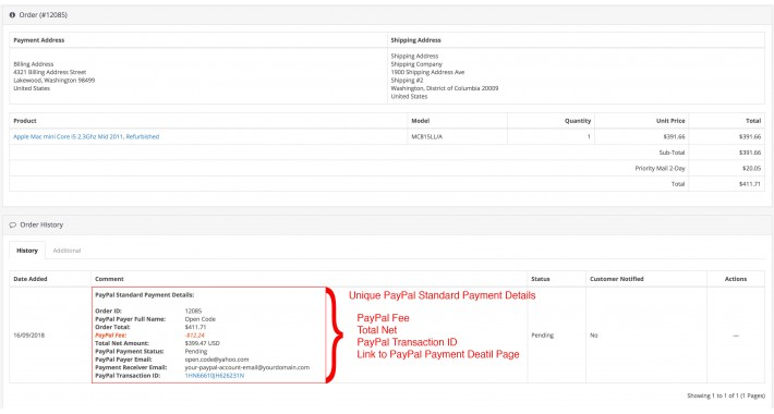 PayPal Standard Payment Details