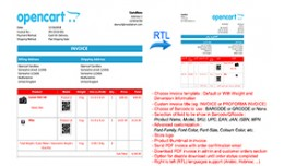Barcode, QRcode, Dimension, Weight,  RTL (PDF In..